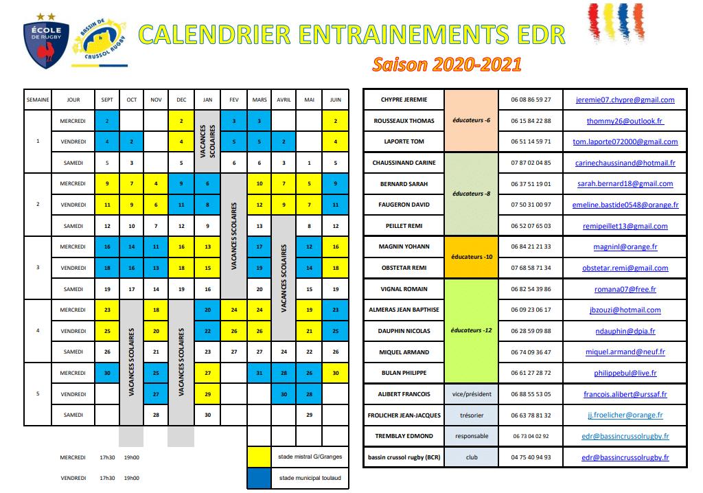 calendrier EDR BCR